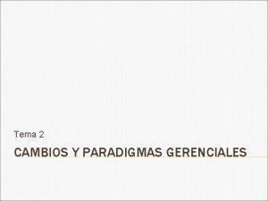 Tema 2 CAMBIOS Y PARADIGMAS GERENCIALES PARADIGMA Mo