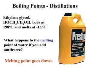 Boiling Points Distillations Ethylene glycol HOCH 2 OH