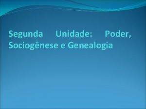 Segunda Unidade Poder Sociognese e Genealogia Michel Foucault