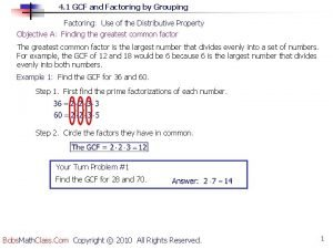 4 1 GCF and Factoring by Grouping Factoring