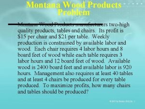 Montana Wood Products Problem Montana Wood Products manufacturers