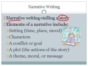 Narrative Writing Narrative writingtelling a story Elements of