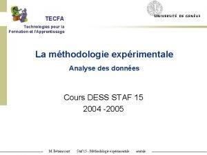 TECFA Technologies pour la Formation et lApprentissage La