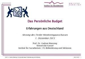 Das Persnliche Budget Erfahrungen aus Deutschland Sitzung des