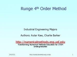 Runge 4 th Order Method Industrial Engineering Majors
