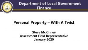 Department of Local Government Finance Personal Property With