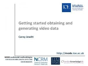 Getting started obtaining and generating video data Carey