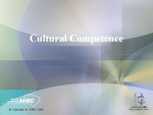 Cultural Competence Copyright SC AHEC 2008 Learning Objectives