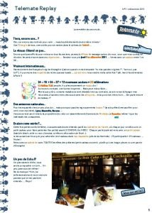 Telemate Replay N 3 dcembre 2011 La newsletter