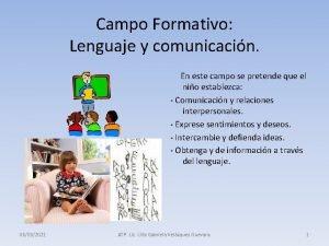 Campo Formativo Lenguaje y comunicacin En este campo