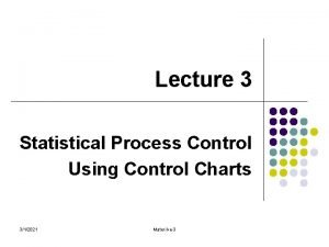 Lecture 3 Statistical Process Control Using Control Charts