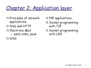 Chapter 2 Application layer r Principles of network