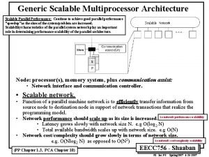 Generic Scalable Multiprocessor Architecture Scalable Parallel Performance Continue