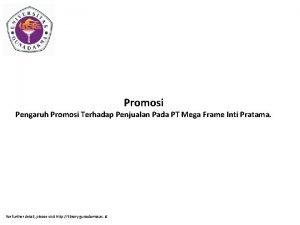 Promosi Pengaruh Promosi Terhadap Penjualan Pada PT Mega