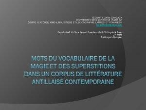 TEODORFLORIN ZANOAGA UNIVERSIT PARIS SORBONNE PARIS IV QUIPE