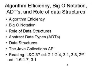 Algorithm Efficiency Big O Notation ADTs and Role