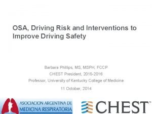 OSA Driving Risk and Interventions to Improve Driving