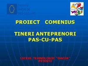 PROIECT COMENIUS TINERI ANTEPRENORI PASCUPAS LICEUL TEHNOLOGIC DACIA