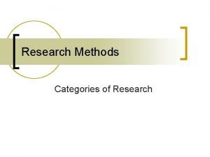 Research Methods Categories of Research Categories of Research