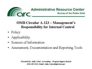 OMB Circular A123 Managements Responsibility for Internal Control