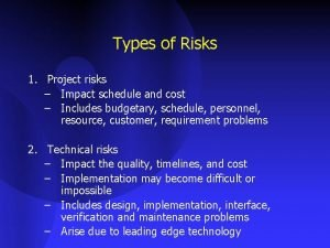Types of Risks 1 Project risks Impact schedule