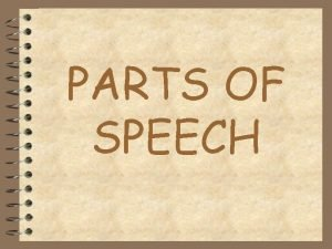 PARTS OF SPEECH NOUNS 4 PERSON PLACE THING