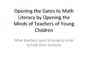 Opening the Gates to Math Literacy by Opening