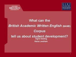 What can the British Academic Written English BAWE