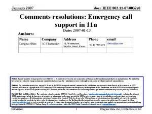 January 2007 doc IEEE 802 11 070032 r