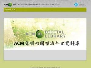 ACM 2012 Association for Computing Machinery Author Profile