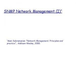 SNMP Network Management I Mani Subramanian Network Management