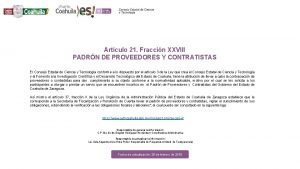 Artculo 21 Fraccin XXVIII PADRN DE PROVEEDORES Y