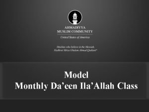 Model Monthly Daeen IlaAllah Class Monthly Daeen Class