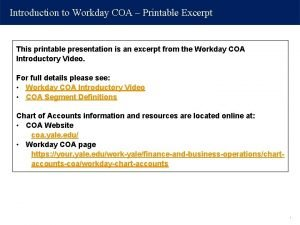 Introduction to Workday COA Printable Excerpt This printable