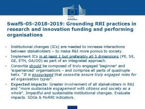 Swaf S05 2018 2019 Grounding RRI practices in