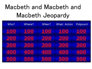 Macbeth and Macbeth Jeopardy Who Where When What