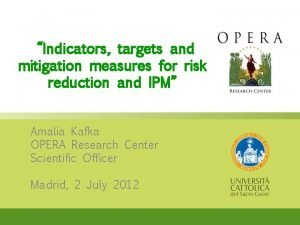 Indicators targets and mitigation measures for risk reduction