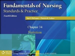 Chapter 34 Nutrition Copyright 2011 Delmar Cengage Learning