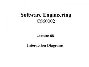 Software Engineering CS 60002 Lecture 08 Interaction Diagrams