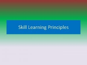 Skill Learning Principles Factors Affecting Learning Inherited Factors