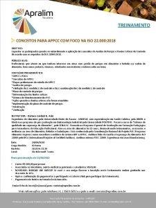 TREINAMENTO CONCEITOS PARA APPCC COM FOCO NA ISO