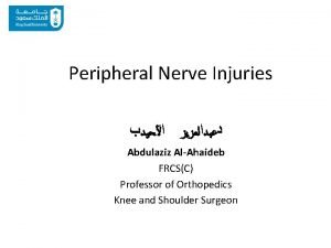 Peripheral Nerve Injuries Abdulaziz AlAhaideb FRCSC Professor of