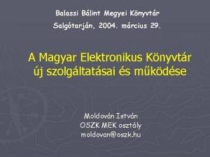 Balassi Blint Megyei Knyvtr Salgtarjn 2004 mrcius 29