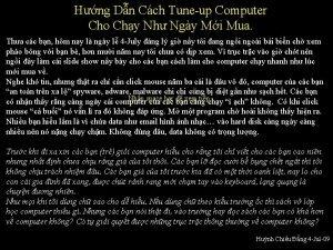 Hng Dn Cch Tuneup Computer Cho Chy Nh