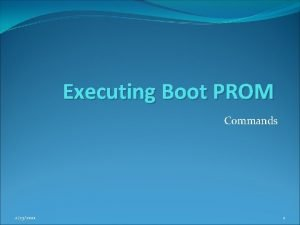 Executing Boot PROM Commands 2232021 1 Boot PROM
