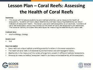 Lesson Plan Coral Reefs Assessing the Health of
