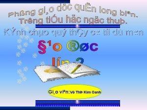 Gio vin V Th Kim Oanh KIM TRA