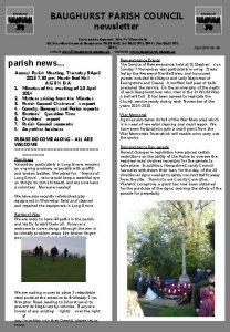 BAUGHURST PARISH COUNCIL newsletter Clerk to the Council