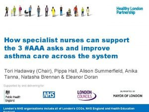 How specialist nurses can support the 3 AAA