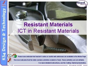 Resistant Materials ICT in Resistant Materials These icons